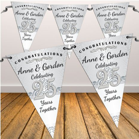 Personalised Silver 25th Wedding Anniversary Celebration Flag Banner Bunting - N48